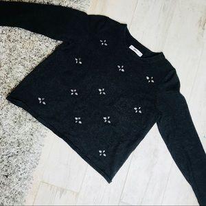 Zara | Soft Jeweled Pattern Cropped Sweater M